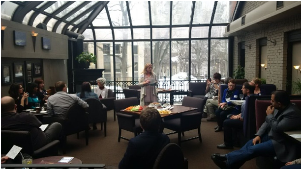 IAP2 trainer and long-time member, Stephani Roy McCallum speaks to Atlantic Chapter members and guests in Halifax (March 30) about the IAP2 Spectrum.