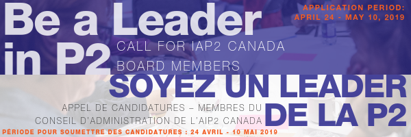Header image - Be a leader in P2: Call for IAP2 Canada Board Members