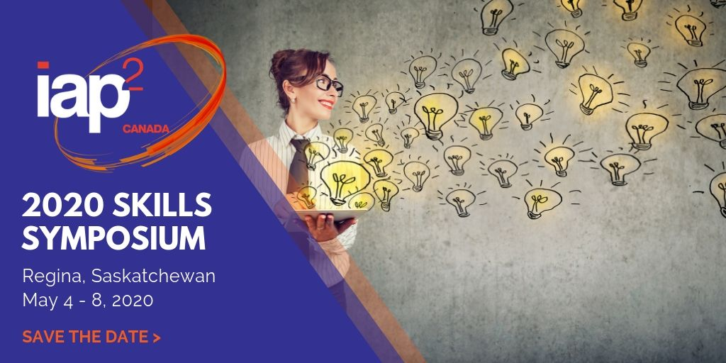 2020 IAP2 Canada Skills Symposium Banner - Woman with floating lightbulbs.